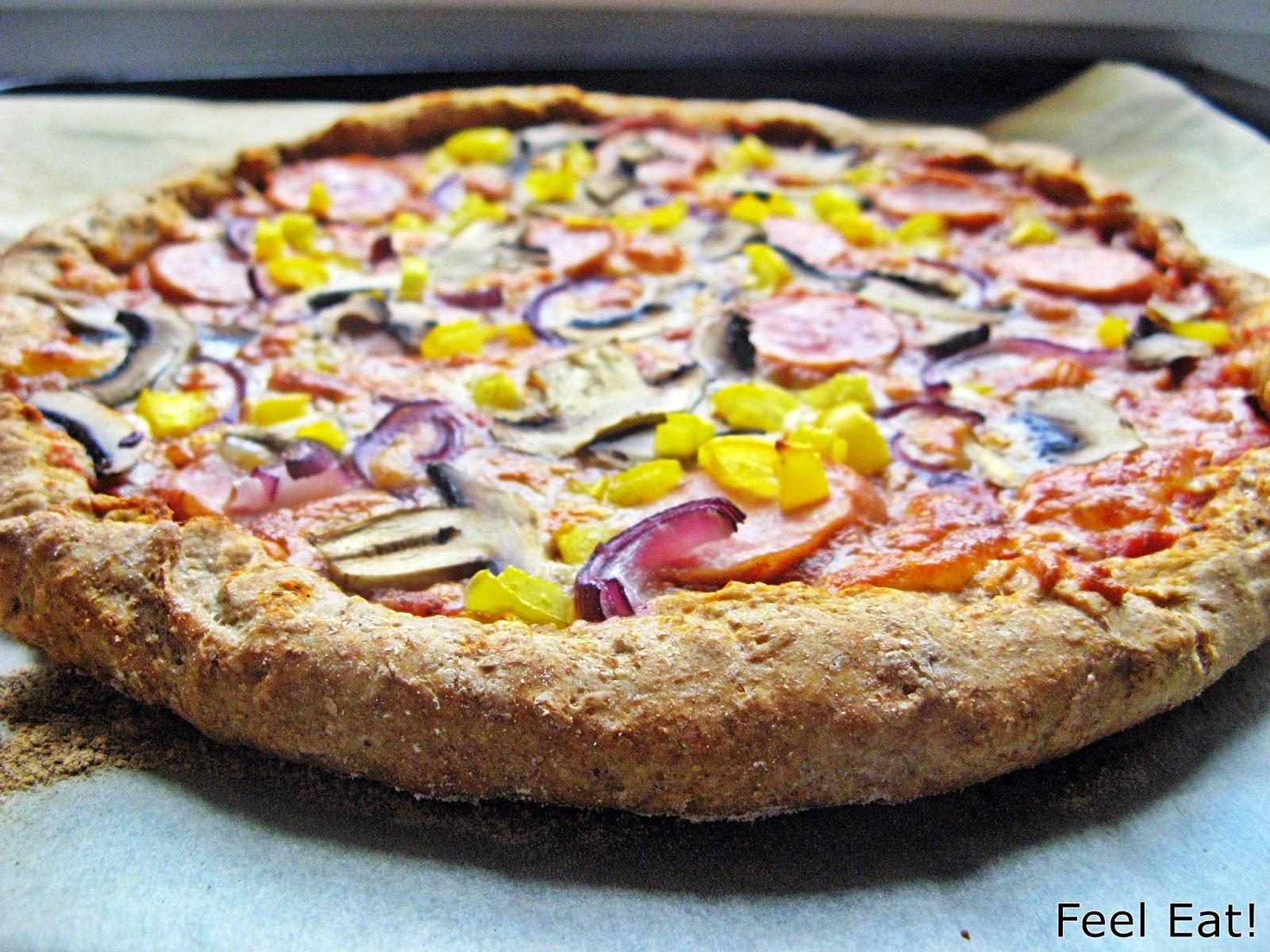 Domowa pełnoziarnista pizza wiejska, pyszna!