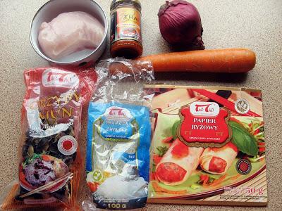 IMG 6856 - Sajgonki light z piekarnika z kurczakiem i warzywami