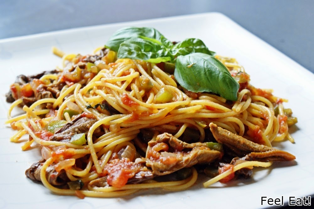 DSC06211 - Spaghetti con funghi e peperoni/ Spaghetti z grzybami i zieloną papryką
