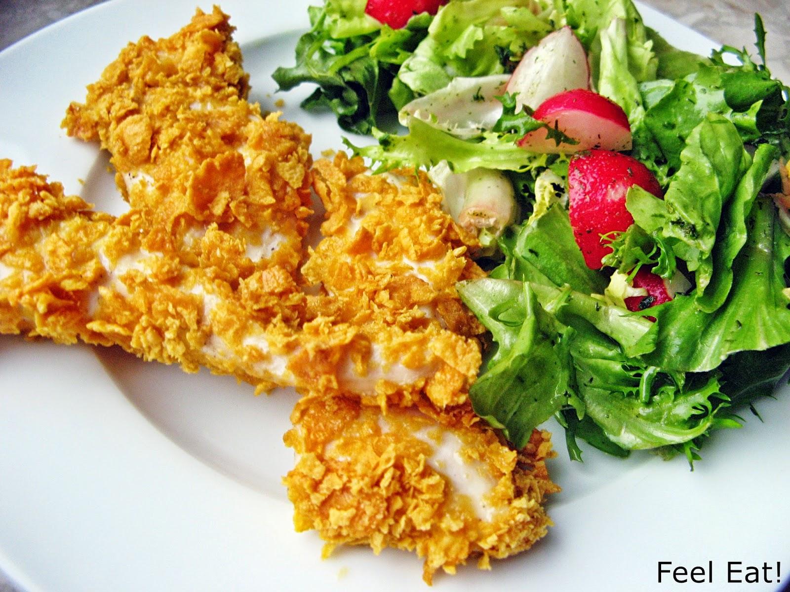"""Domowy fast food, czyli pieczone nuggetsy w pełnoziarnistej, chrupiącej """"panierce"""" :)"""