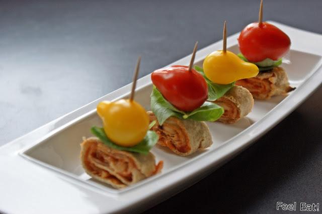 DSC08873 - Zdrowe koreczki z pomidorami, bazylią i tortillą zapiekaną z serem mozzarella